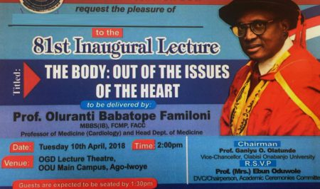 Professor Oluranti Babatope Familoni Delivers 81st OOU Inaugural Lecture