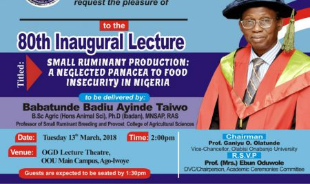 Professor Babatunde Badiu Ayinde Taiwo Delivers 80th Oou Inaugural Lecture