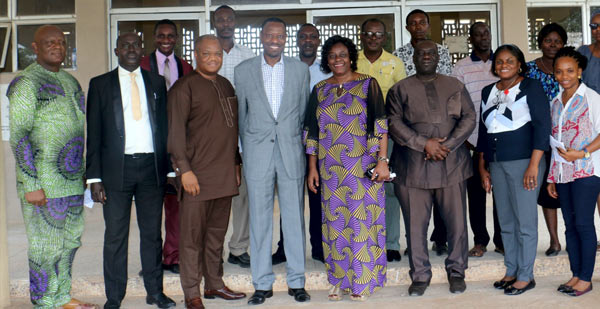 The Deputy Vice-Chancellor (Administration), Prof. (Mrs) Ebun Oduwole (4th from Right), Barrister Kayode Osoba (4th left) with other University functionaries in a group photograph.