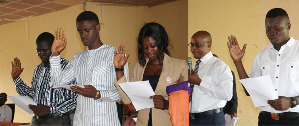 The Dean, Faculty of Law, Prof. C.O. Adekoya administering the Oath of office to the Students' Union Government New executive.