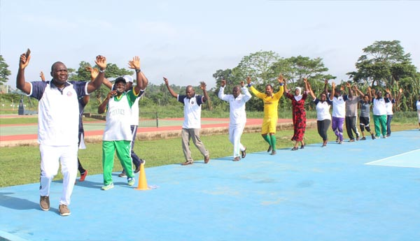 dvc, Prof, Deji-Agboola, leading-the-Staff-during-the-Aerobic-Exercise-Session-oou